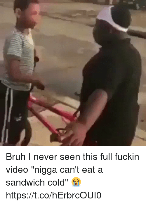 "Bruh, Memes, and Video: Bruh I never seen this full fuckin video ""nigga can't eat a sandwich cold"" 😭 https://t.co/hErbrcOUI0"