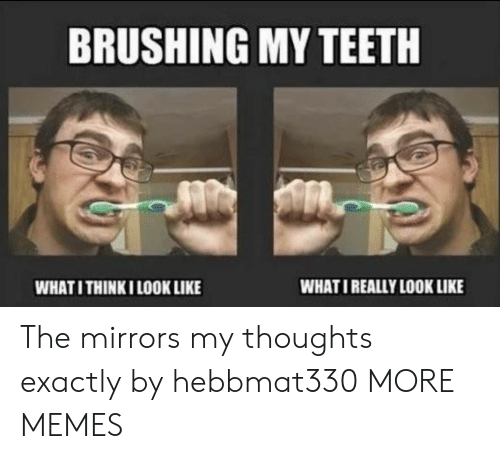 Dank, Memes, and Target: BRUSHING MY TEETH  WHATI REALLY LOOK LIKE  WHATI THINKI LOOK LIKE The mirrors my thoughts exactly by hebbmat330 MORE MEMES