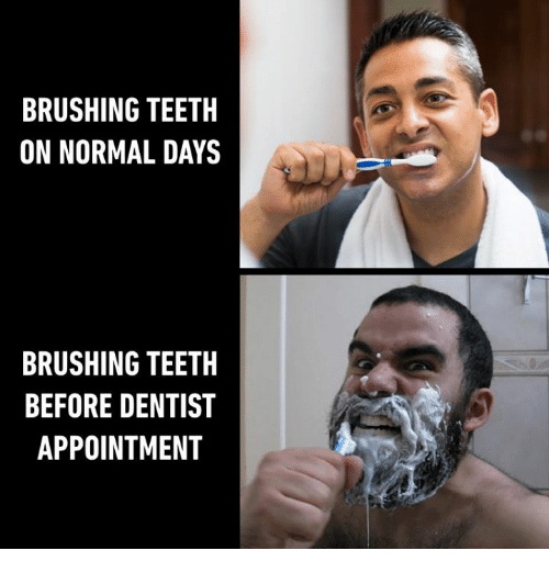Memes, 🤖, and Teeth: BRUSHING TEETH  ON NORMAL DAYS  BRUSHING TEETH  BEFORE DENTIST  APPOINTMENT