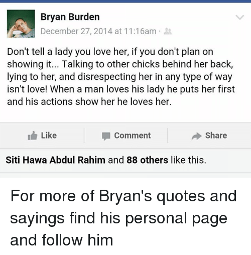 bryan burden at am don t tell a lady you love