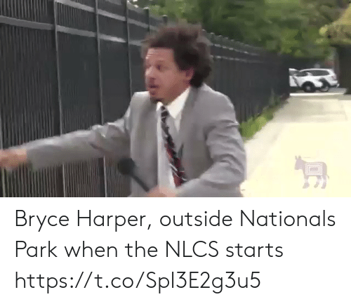 Sports, Bryce Harper, and Nationals: Bryce Harper, outside Nationals Park when the NLCS starts https://t.co/SpI3E2g3u5
