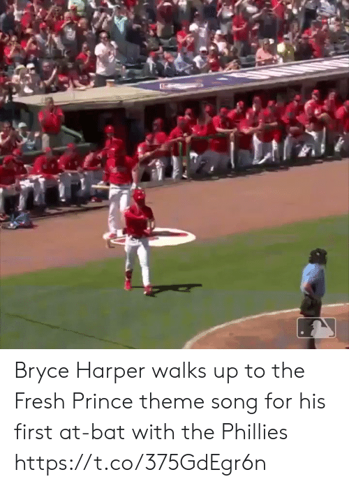 Fresh, Philadelphia Phillies, and Prince: Bryce Harper walks up to the Fresh Prince theme song for his first at-bat with the Phillies https://t.co/375GdEgr6n