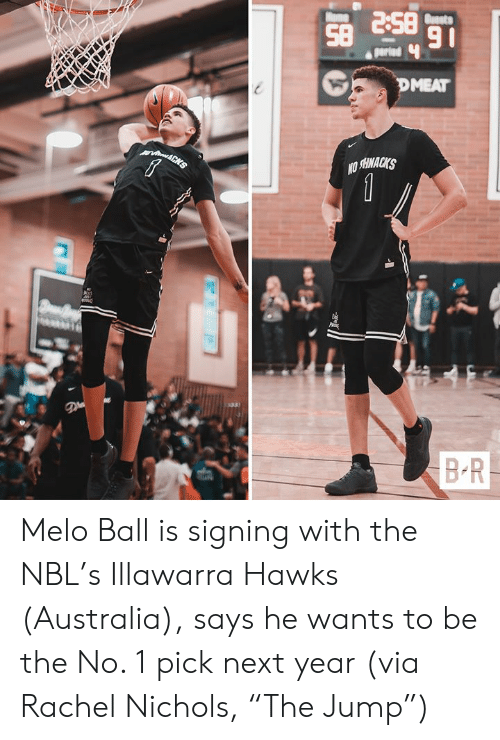 "Australia, Hawks, and Next: BS 8S  91  Buasts  ome  parind  DMEAT  vin&CHS  1  BR Melo Ball is signing with the NBL's Illawarra Hawks (Australia), says he wants to be the No. 1 pick next year  (via Rachel Nichols, ""The Jump"")"