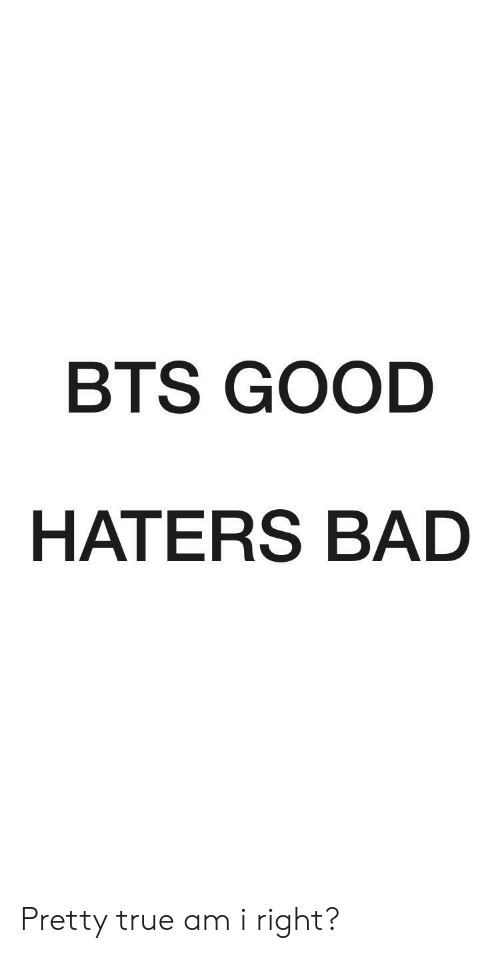 Bad, True, and Good: BTS GOOD  HATERS BAD Pretty true am i right?