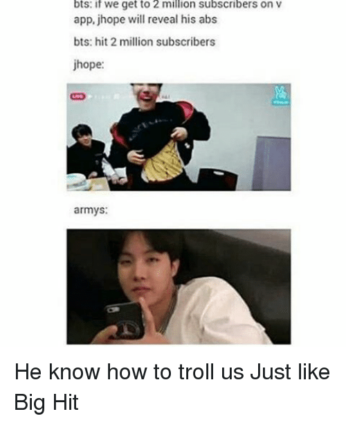 Bts If We Get To 2 Million Subscribers On V App Jhope Will Reveal