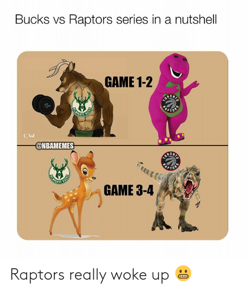Nba, Game, and Bucks: Bucks vs Raptors series in a nutshell  GAME 1-2  KEE  Cw  @NBAMEMES  GAME 3-4 Raptors really woke up 😬
