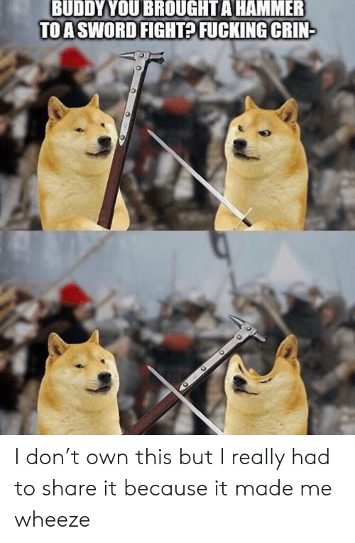 BUDDYYOU BROUGHT a HAMMER TO a SWORD FIGHT? FUCKING CRIN I