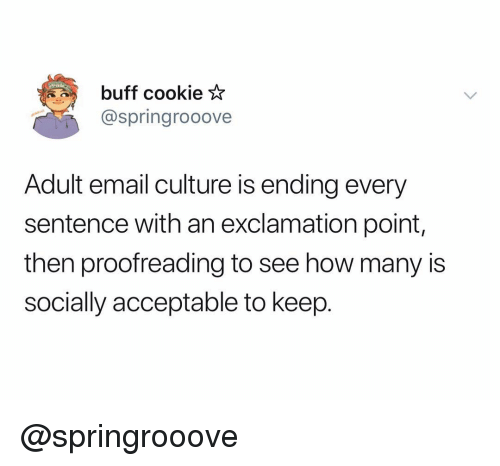 Email, Dank Memes, and How: buff cookie *  @springrooove  Adult email culture is ending every  sentence with an exclamation point  then proofreading to see how many is  socially acceptable to keep. @springrooove