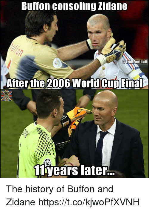 Buffon Consoling Zidane Football After The 2006 World Cup Final