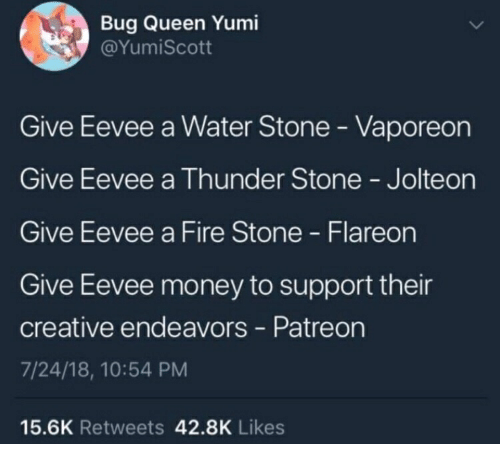 a7505c02 Fire, Money, and Queen: Bug Queen Yumi @YumiScott Give Eevee a Water