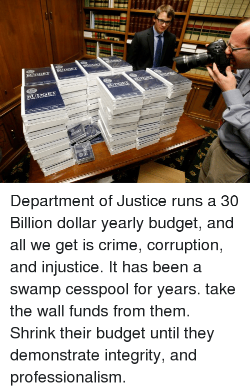 Crime, Budget, and Integrity: BUIDGHT Department of Justice runs a 30 Billion dollar yearly budget, and all we get is crime, corruption, and injustice. It has been a swamp cesspool for years. take the wall funds from them. Shrink their budget until they demonstrate integrity, and professionalism.