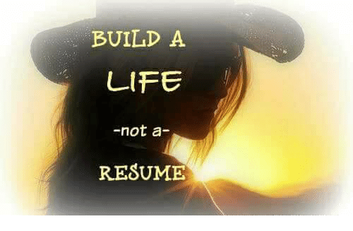 build a life not a resume life meme on