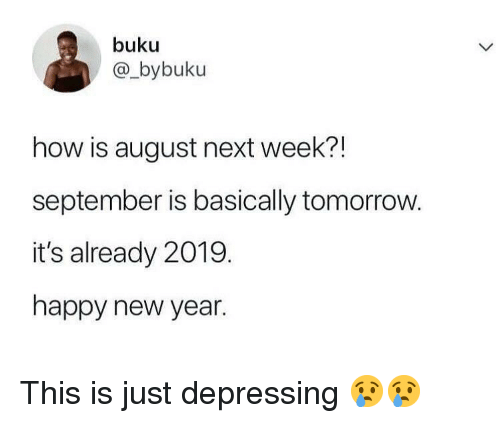 Funny, New Year's, and Happy: buku  @_bybuku  how is august next week?!  september is basically tomorrow.  it's already 2019.  happy new year. This is just depressing 😢😢