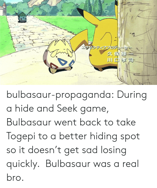 Bulbasaur, Tumblr, and Blog: bulbasaur-propaganda:   During a hide and Seek game, Bulbasaur went back to take Togepi to a better hiding spot so it doesn't get sad losing quickly.  Bulbasaur was a real bro.