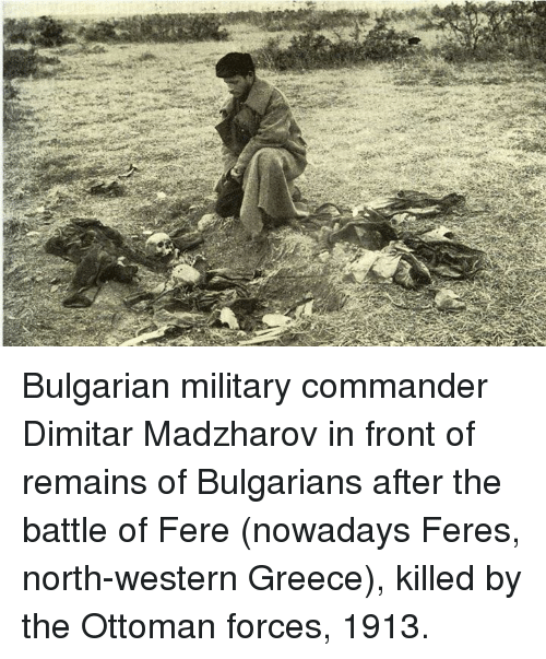 Bulgarian Military Commander Dimitar Madzharov In Front Of Remains