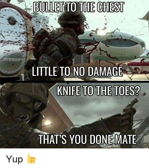 Memes, 🤖, and Bullets: BULLET TO THE CHEST  LITTLE TO NO DAMAGE  KNIFE TO THE TOES?  THATS YOU DONEMATE Yup 👍