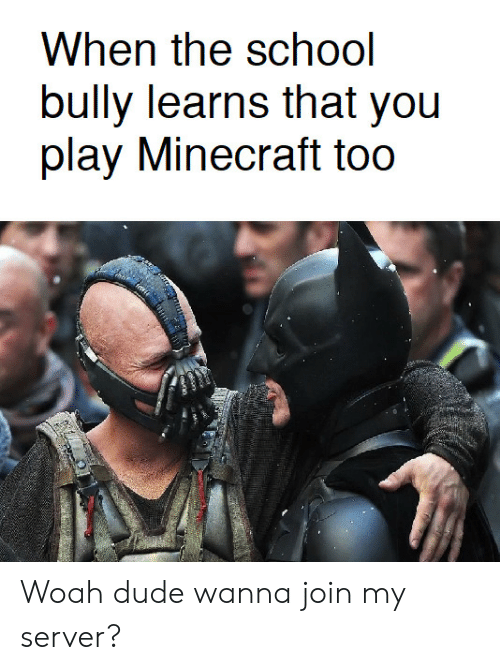 Dude, Minecraft, and Bully: bully learns that you  play Minecraft too Woah dude wanna join my server?