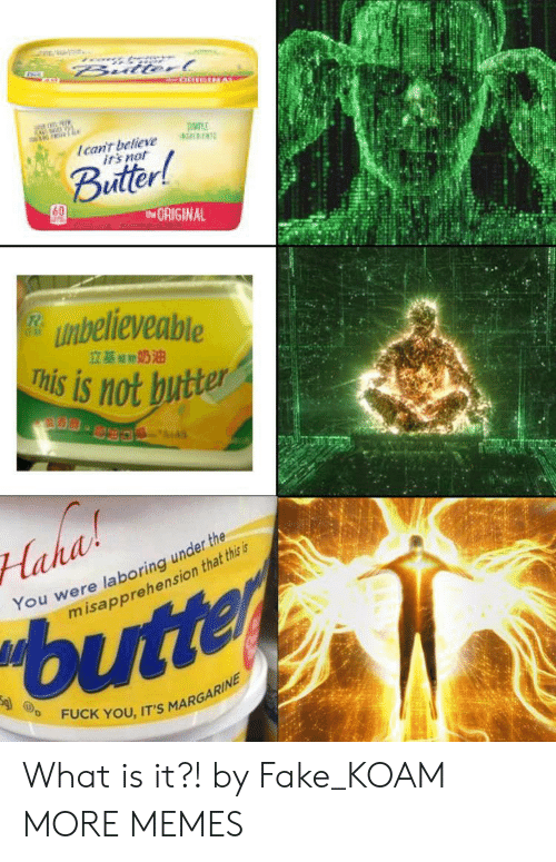 Dank, Fake, and Fuck You: Bulterl  Ican't believe  irs not  Buitter!  tORIGINAL  unbelieveable  This is not butter  立基期奶油  S.  Haha  You were laboring under the  misapprehension that this is  butter  FUCK YOU, IT'S MARGARINE What is it?! by Fake_KOAM MORE MEMES