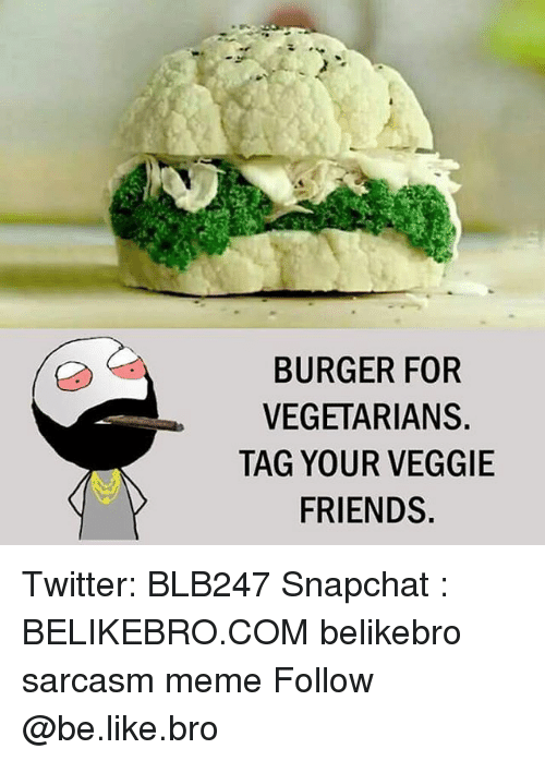 Be Like, Friends, and Meme: BURGER FOR  VEGETARIANS.  TAG YOUR VEGGIE  FRIENDS Twitter: BLB247 Snapchat : BELIKEBRO.COM belikebro sarcasm meme Follow @be.like.bro