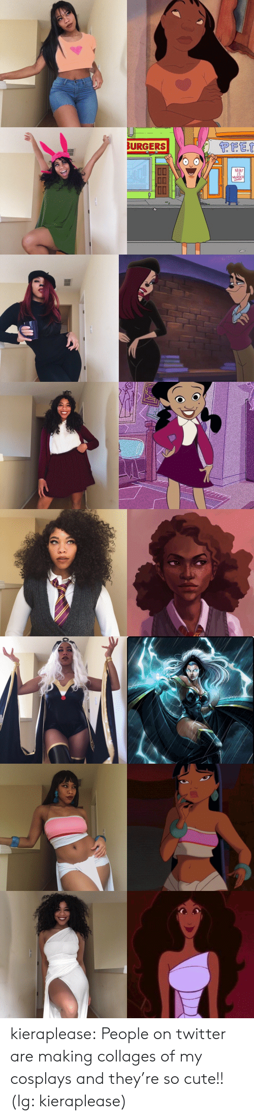 Cute, Instagram, and Tumblr: BURGERS  MEAT  IS  MURDER kieraplease: People on twitter are making collages of my cosplays and they're so cute!! (Ig: kieraplease)