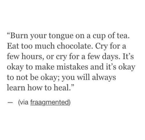 "Too Much, Chocolate, and How To: ""Burn your tongue on a cup of tea.  Eat too much chocolate. Cry for a  few hours, or cry for a few days. It's  okay to make mistakes and it's okay  to not be okay; you will alway:s  learn how to heal.""  (via fraagmented)"