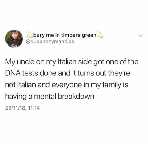 Family, Got, and Dna: bury me in timbers green  @queenozymandias  My uncle on my ltalian side got one of the  DNA tests done and it turns out they're  not ltalian and everyone in my family is  having a mental breakdown  23/11/18, 11:14