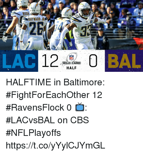 Memes, Cbs, and Baltimore: BUSA  HAYWARD JR  25  WILD CARD  HALF HALFTIME in Baltimore:  #FightForEachOther 12 #RavensFlock 0  📺: #LACvsBAL on CBS #NFLPlayoffs https://t.co/yYylCJYmGL
