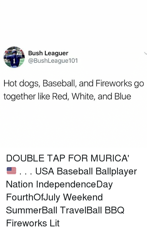 Baseball, Dogs, and Lit: Bush Leaguer  @BushLeague101  Hot dogs, Baseball, and Fireworks go  together like Red, White, and Blue DOUBLE TAP FOR MURICA' 🇺🇸 . . . USA Baseball Ballplayer Nation IndependenceDay FourthOfJuly Weekend SummerBall TravelBall BBQ Fireworks Lit