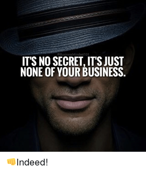 Memes, Business, and 🤖: @Business MMindset101  IT'S NO SECRET, ITSJUST  NONE OF YOUR BUSINESS. 👊Indeed!