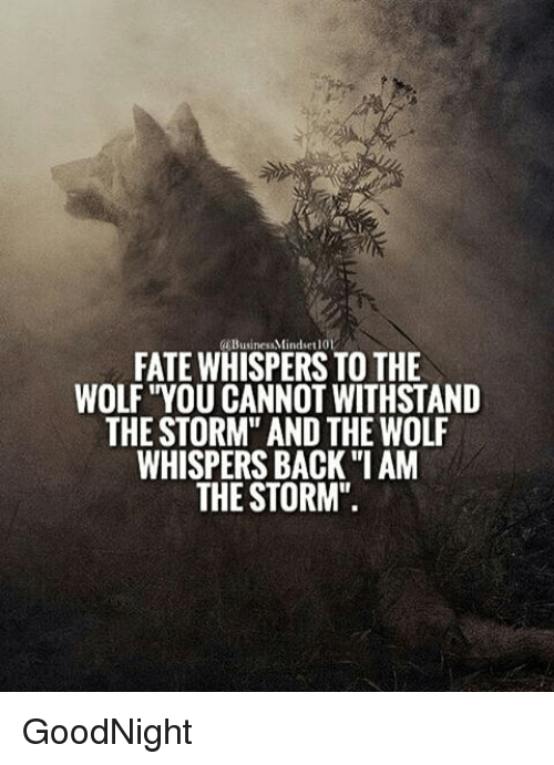 fate whispers to the wolf you cannot withstand the storm