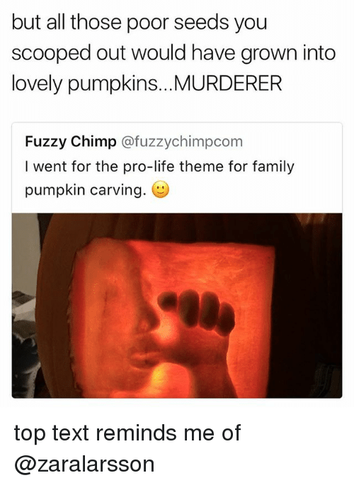Family, Life, and Pumpkin: but all those poor seeds you  scooped out would have grown into  lovely pumpkins...MURDERER  Fuzzy Chimp @fuzzychimpconm  I went for the pro-life theme for family  pumpkin carving. top text reminds me of @zaralarsson