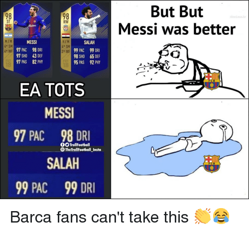 Memes, Messi, and Barca: But But  Messi was better  98  ST  98  RW  MESSI  97 PAC 98 DRI  97 SHO 43 DEF  97 PAS 82 PHY  HIM  SM  2 WE  MZM  SALAH  99 PAC  98 SHO  95 PAS  99 DRI  65 DEF  92 PHY  WF  FCB  EA TOTS  MESS  97 PAC 98 DRI  0O TrollFootball  TheTrollFootball Insta  SALAH  99 PAC  99 DRI Barca fans can't take this 👏😂