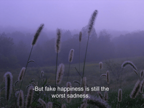 Fake, The Worst, and Happiness: -But fake happiness is still the  worst sadness.