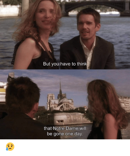 Memes, Notre Dame, and 🤖: But you have to think  that Notre Dame will  be gone one day 😥