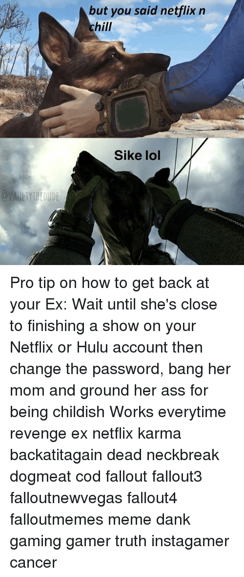 Ass, Chill, and Dank: but you said netflix n  chill  Sike lol Pro tip on how to get back at your Ex: Wait until she's close to finishing a show on your Netflix or Hulu account then change the password, bang her mom and ground her ass for being childish Works everytime revenge ex netflix karma backatitagain dead neckbreak dogmeat cod fallout fallout3 falloutnewvegas fallout4 falloutmemes meme dank gaming gamer truth instagamer cancer