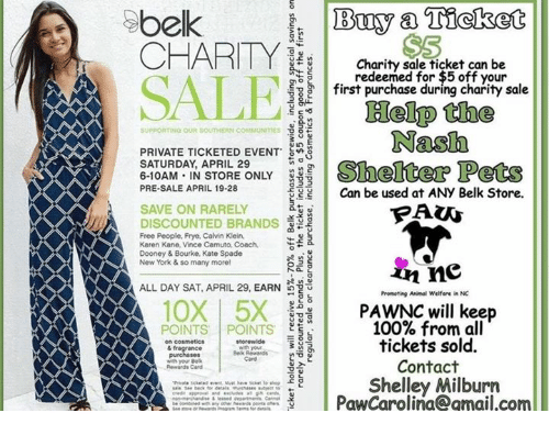 e3120fa238cd Buy a Ticket Belk CHARITY Charity Sale Ticket Can Be 5 Redeemed for ...