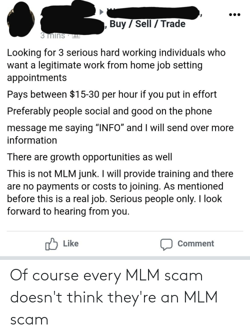 """Phone, Work, and Good: Buy / Sell / Trade  3 mins  Looking for 3 serious hard working individuals who  want a legitimate work from home job setting  appointments  Pays between $15-30 per hour if you put in effort  Preferably people social and good on the phone  message me saying """"INF0"""" and I will send over more  information  There are growth opportunities as well  This is not MLM junk. I will provide training and there  are no payments or costs to joining. As mentioned  before this is a real job. Serious people only. I look  forward to hearing from you.  O Like  Comment Of course every MLM scam doesn't think they're an MLM scam"""
