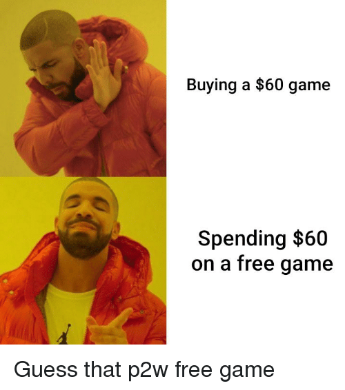 Free, Game, and Guess: Buying a $60 game  Spending $60  on a free qame