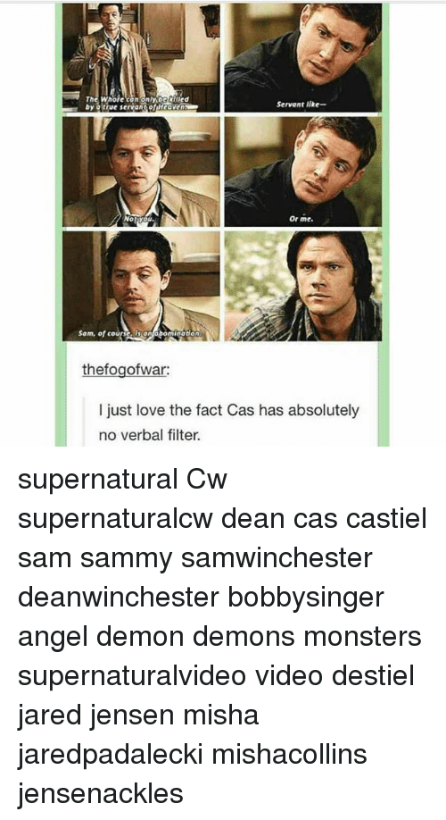 Love, Memes, and Angel: by atrue servant ofuHeaveo  Servant like-  Or me  Sam, of courscaisontabominatton  thefogofwar:  I just love the fact Cas has absolutely  no verbal filter. supernatural Cw supernaturalcw dean cas castiel sam sammy samwinchester deanwinchester bobbysinger angel demon demons monsters supernaturalvideo video destiel jared jensen misha jaredpadalecki mishacollins jensenackles