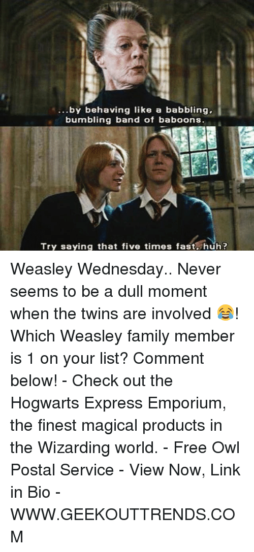 Family, Huh, and Memes: ...by behaving like a babbling,  bumbling band of baboons.  Try saying that five times fast huh? Weasley Wednesday.. Never seems to be a dull moment when the twins are involved 😂! Which Weasley family member is 1 on your list? Comment below! - Check out the Hogwarts Express Emporium, the finest magical products in the Wizarding world. - Free Owl Postal Service - View Now, Link in Bio - WWW.GEEKOUTTRENDS.COM