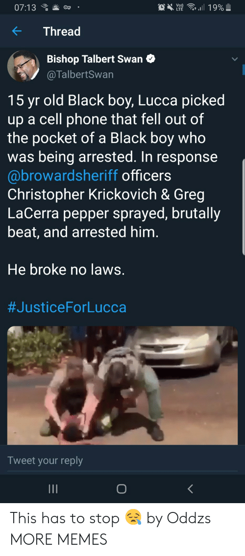 Dank, Memes, and Phone: C  07:13  Y2  ,.il 19%  OT  Thread  Bishop Talbert Swan C  @TalbertSwan  15 yr old Black boy, Lucca picked  up a cell phone that fell out of  the pocket of a Black boy who  was being arrested. In response  @browardsheriff officers  Christopher Krickovich & Greg  LaCerra pepper sprayed, brutally  beat, and arrested him  He broke no laws  #JusticeForLucca  Tweet your reply This has to stop 😪 by Oddzs MORE MEMES