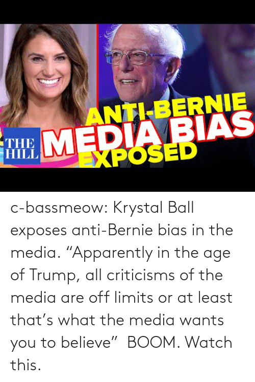 """Tumblr, Blog, and Trump: c-bassmeow:  Krystal Ball exposes anti-Bernie bias in the media.""""Apparently in the age of Trump, all criticisms of the media are off limits or at least that's what the media wants you to believe"""" BOOM. Watch this."""