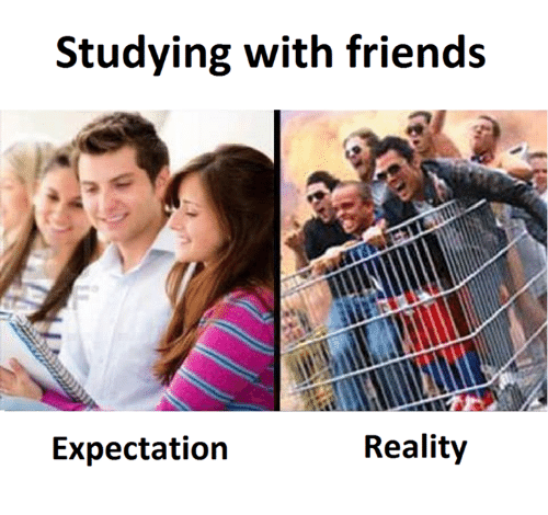 c c studying with friends reality expectation friends meme on me me