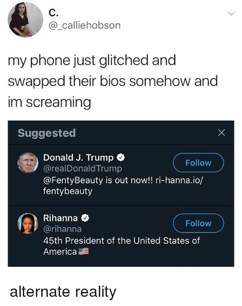 America, Phone, and Rihanna: C.  @_calliehob  son  my phone just glitched and  swapped their bios somehow and  im screaming  Suggested  Donald J. Trump  @realDonaldTrump  @FentyBeauty is out now!! ri-hanna.io/  fentybeauty  Follow  Rihanna Q  @rihanna  45th President of the United States of  America  Follow alternate reality