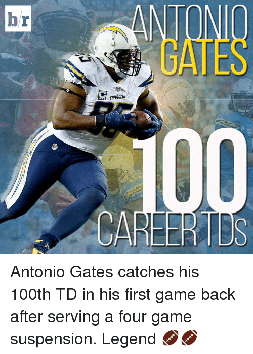 Sports, Chargers, and Game: C  CHARGERS  CAREER TDs  r  b Antonio Gates catches his 100th TD in his first game back after serving a four game suspension. Legend 🏈🏈