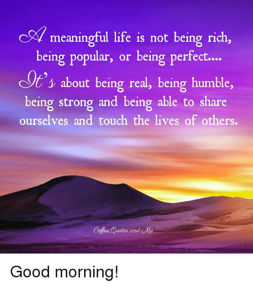 C Meaningful Life Is Not Being Rich Being Popular Or Being Perfect
