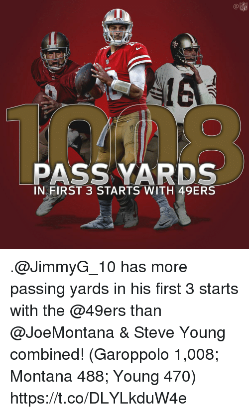 San Francisco 49ers, Memes, and Nfl: C@  NFL  PASS YARDS  IN FIRST 3 STARTS WITH 49ERS .@JimmyG_10 has more passing yards in his first 3 starts with the @49ers than @JoeMontana & Steve Young combined!  (Garoppolo 1,008; Montana 488; Young 470) https://t.co/DLYLkduW4e