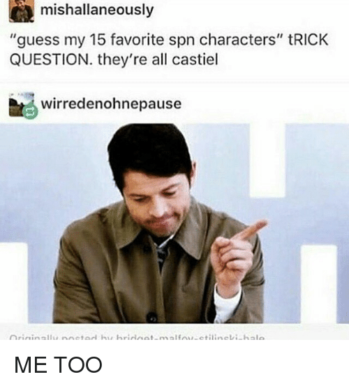 "Memes, Guess, and 🤖: CA mishallaneously  ""guess my 15 favorite spn characters"" tRICK  QUESTION. they're all castiel  bt wirredenohnepause ME TOO"