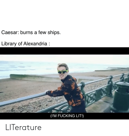 Fucking, Lit, and History: Caesar: burns a few ships  Library of Alexandria:  (IM FUCKING LIT!) LITerature