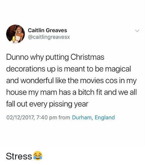 Bitch, Christmas, and England: Caitlin Greaves  @caitlingreavesx  Dunno why putting Christmas  decorations up is meant to be magical  and wonderful like the movies cos in my  house my mam has a bitch fit and we all  fall out every pissing year  02/12/2017, 7:40 pm from Durham, England Stress😂
